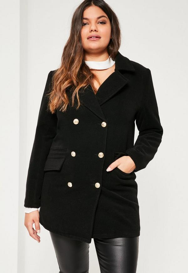 Plus Size Black Short Faux Wool Military Coat. Previous Next - Plus Size Black Short Faux Wool Military Coat Missguided