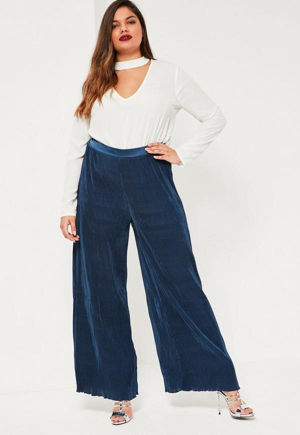 Plus Size Navy Pleated Wide Leg Fluted Hem Trousers