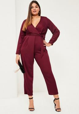 Plus Size Burgundy Belted Satin Wrap Jumpsuit