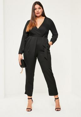Plus Size Black Belted Satin Wrap Jumpsuit