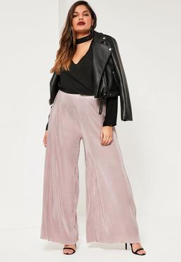 Plus Size Nude Pleated Wide Leg Fluted Hem Trousers