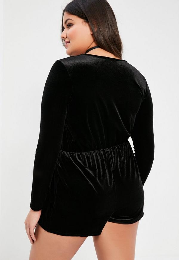 Plus Size Black Long Sleeve Velvet Wrap Romper | Missguided