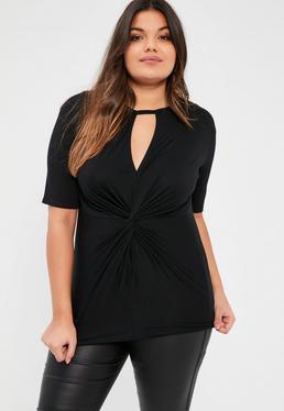 Plus Size Black Knot Front T-Shirt