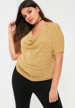 Złoty top z krótkimi rękawami Plus Size