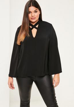 Plus Size Black Cross Neck Detail Blouse