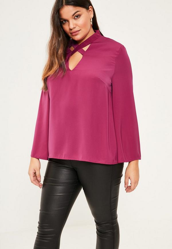 Plus Size Pink Cross Neck Bell Sleeve Blouse
