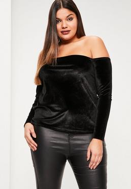 Plus Size Black Velvet Bardot Top