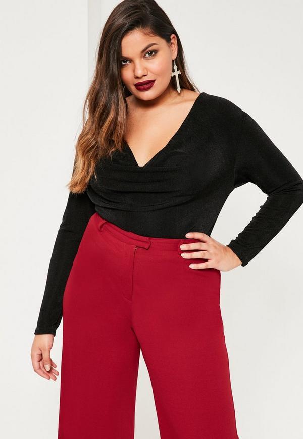 Plus Size Black Cowl Neck Bodysuit
