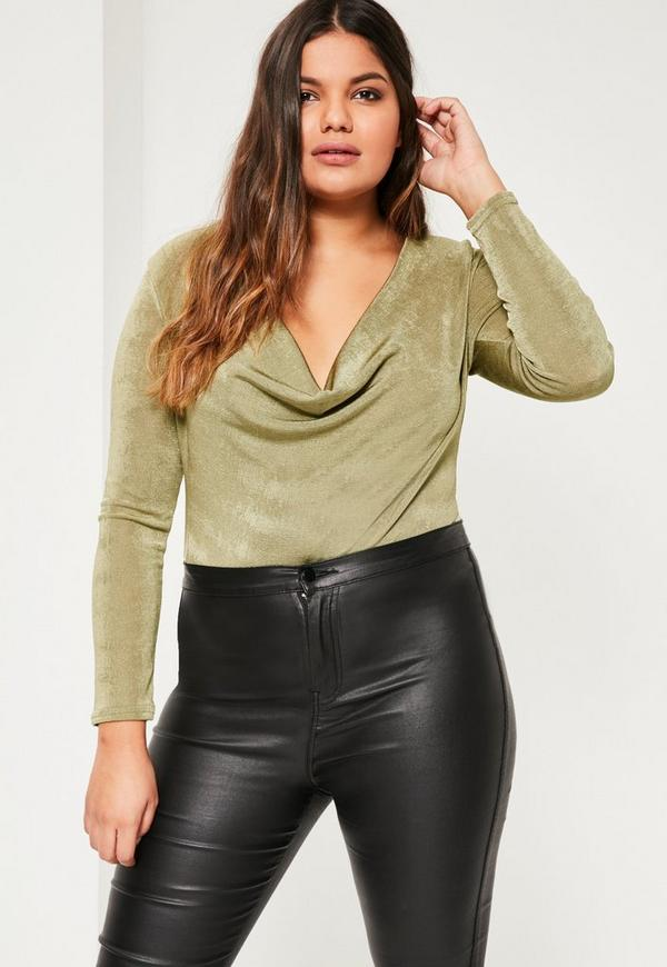Plus Size Green Cowl Neck Bodysuit