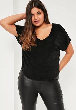 T-shirt grande taille soyeux noir