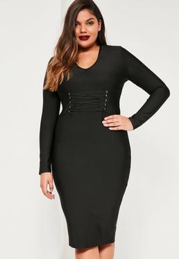 Plus Size Bandage-Kleid mit Schnürdetails in der Mitte in Schwarz