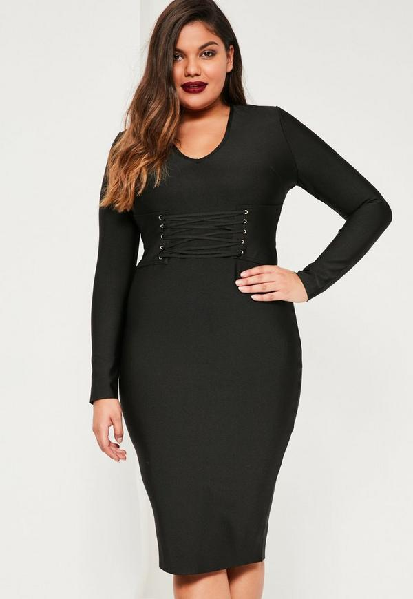 Plus Size Black Bandage Lace Up Dress | Missguided