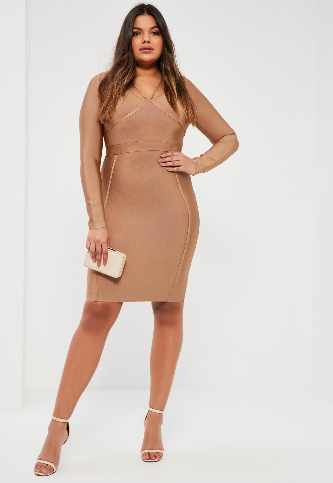 Plus Size Camel Harness Strap Bandage Bodycon Dress Missguided