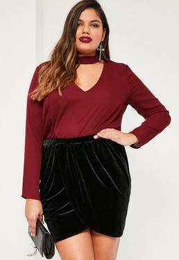Plus Size Black Velvet Wrap Mini Skirt