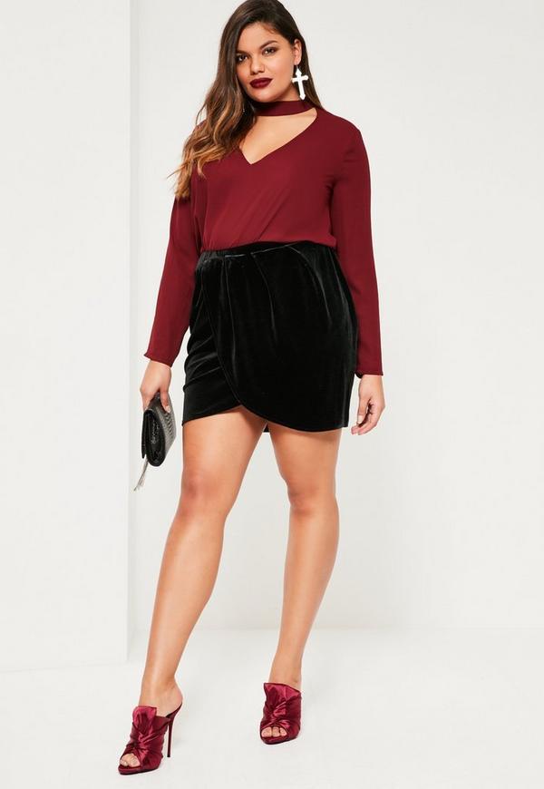 Plus Size Black Velvet Wrap Mini Skirt - Missguided