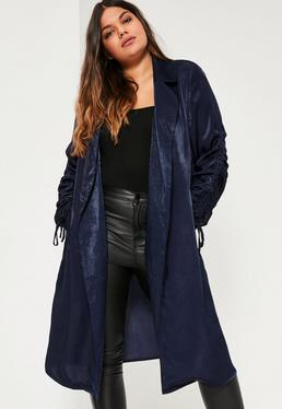 Plus Size Navy Satin Gather Tie Cuff Duster Jacket