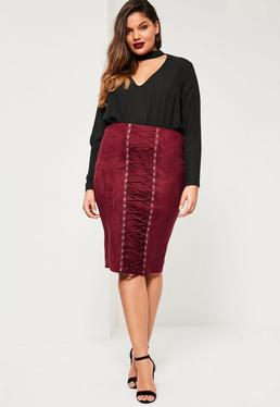 Plus Size Burgundy Faux Suede Lace Up Skirt