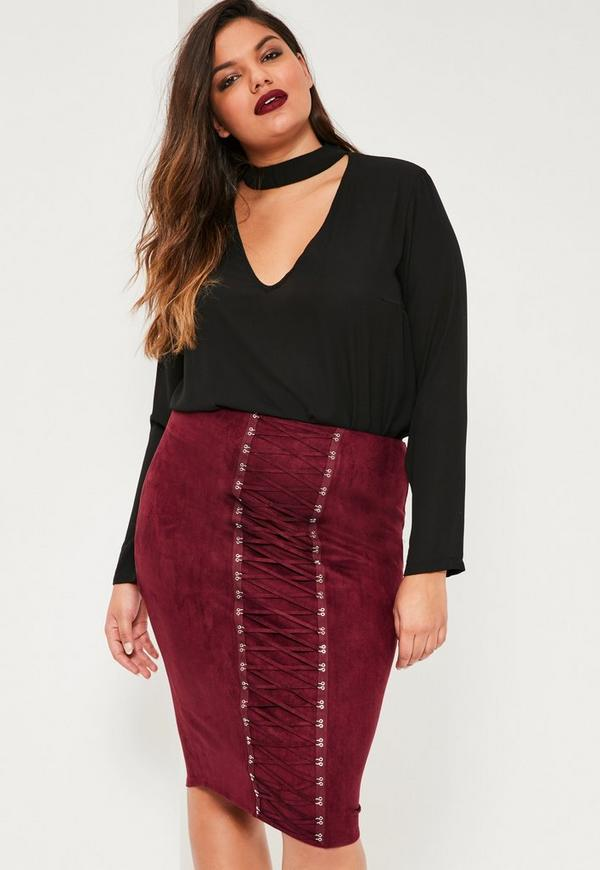 Plus Size Burgundy Faux Suede Lace Up Skirt | Missguided