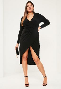 Plus Size Black Gathered Wrap Dress