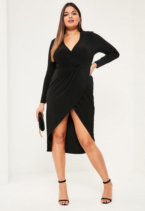Plus Size Black Gathered Wrap Dress | Missguided