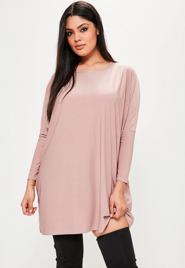 Plus Size Pink Oversized Slinky Dress