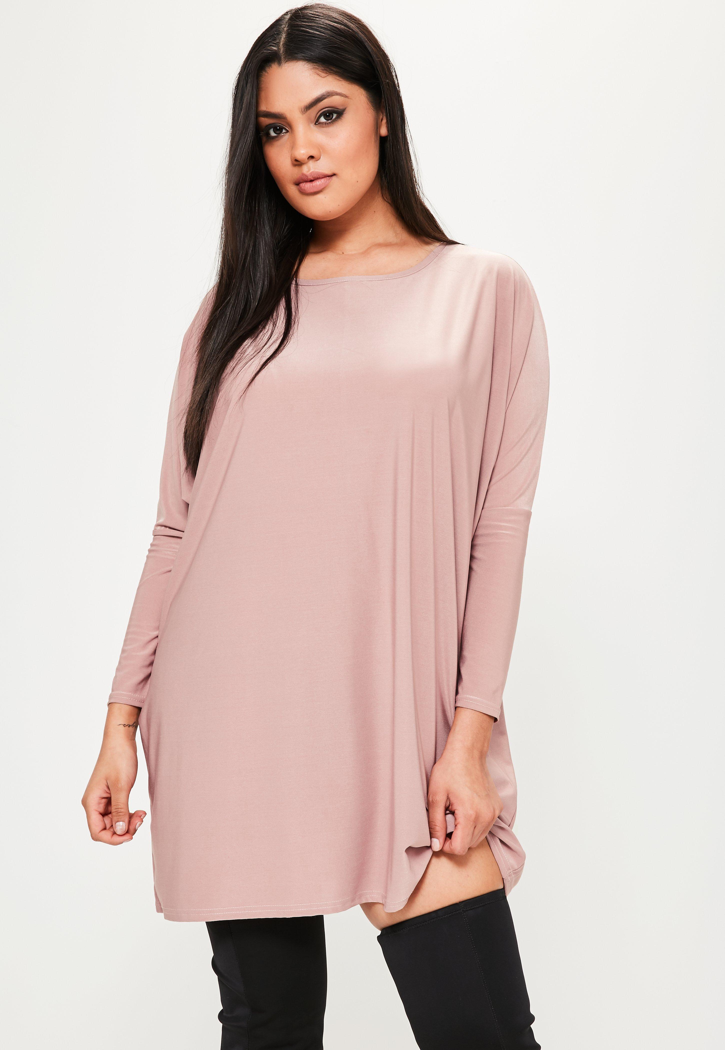 Vestido oversize en rosa tallas grandes   Missguided