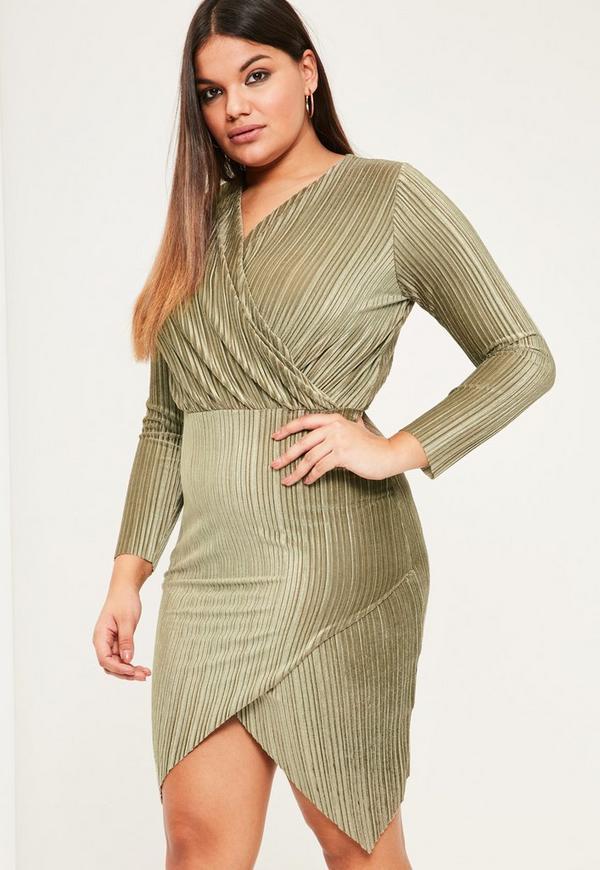 Plus Size Khaki Velvet Pleated Wrap Dress Missguided