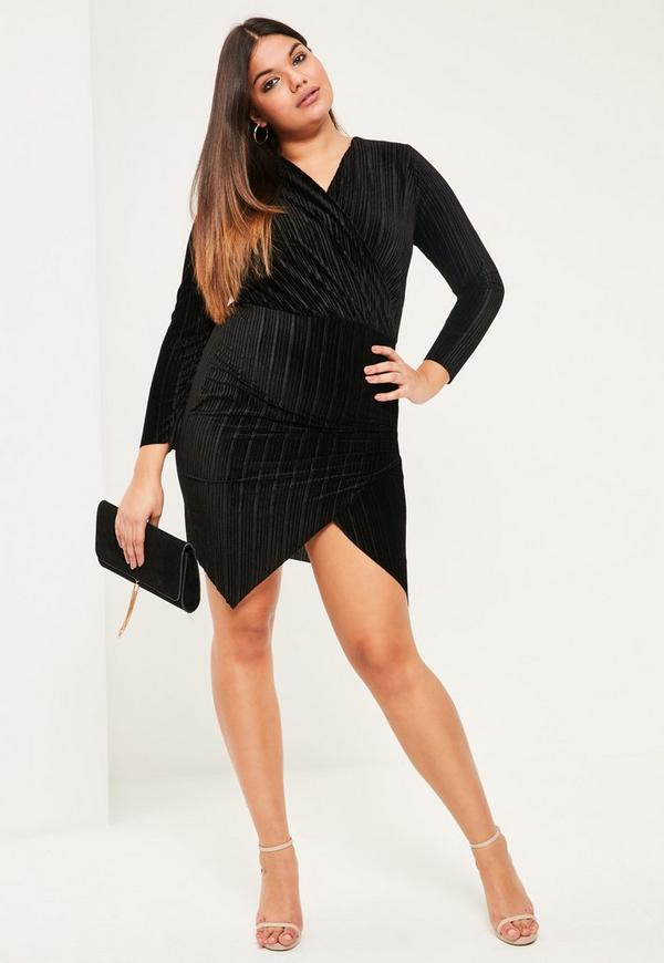 Plus Size Black Velvet Pleated Wrap Dress