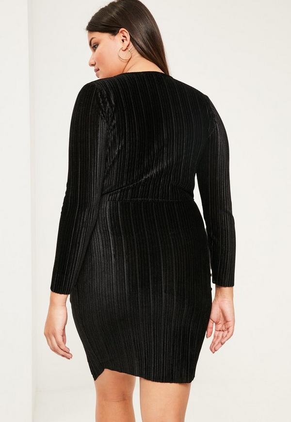Plus Size Black Velvet Pleated Wrap Dress | Missguided