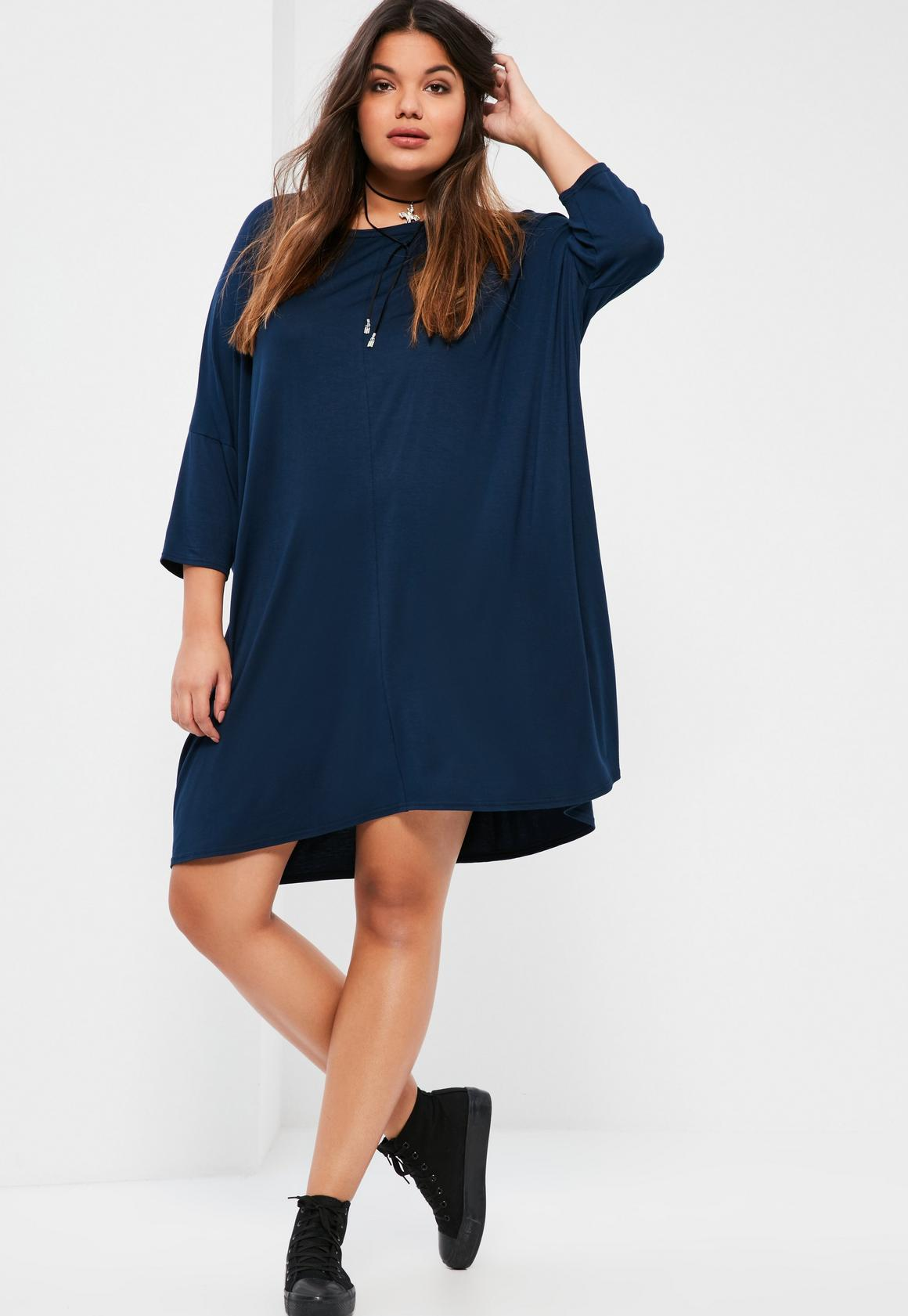 plus size navy oversized t-shirt dress | missguided