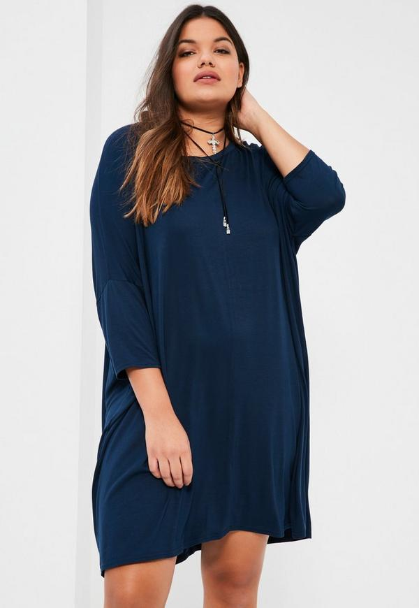 Plus Size Navy Oversized T-Shirt Dress - Missguided