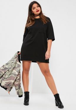 Plus Size Black Oversized Pocket Front Sweater Dress