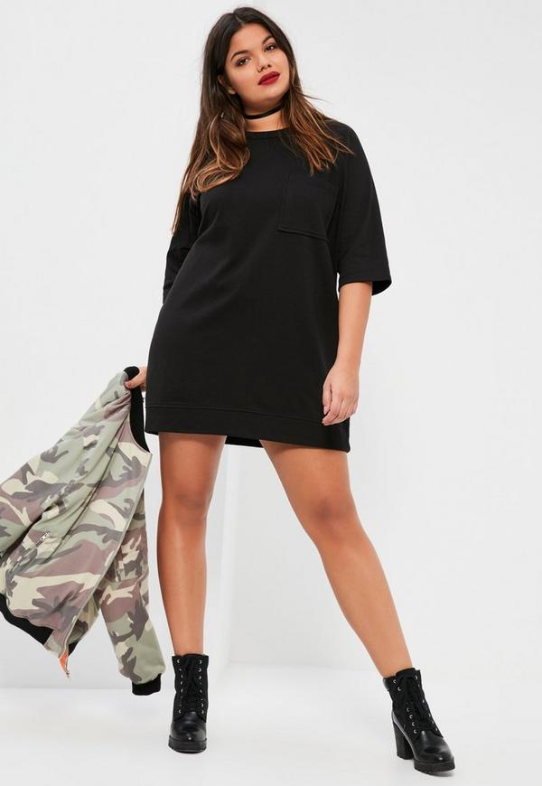 Plus Size Black Oversized Pocket Front Sweater Dress Missguided