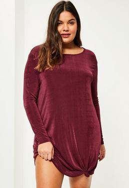Burgundowa sukienka z długimi rękawami wiązana na dole Plus Size