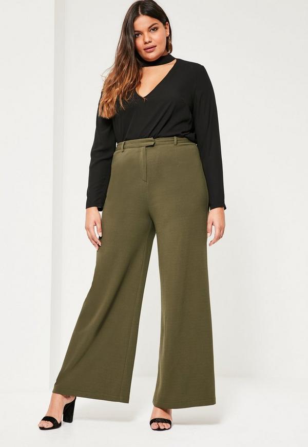 Plus Size Khaki Wide Leg Pants