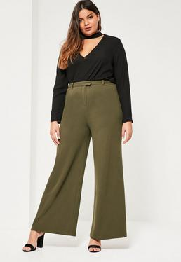 Plus Size Khaki Wide Leg Trousers