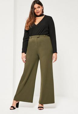 Plus Size Khaki Wide Leg Trousers