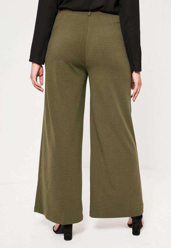 Plus Size Khaki Wide Leg Pants - Missguided