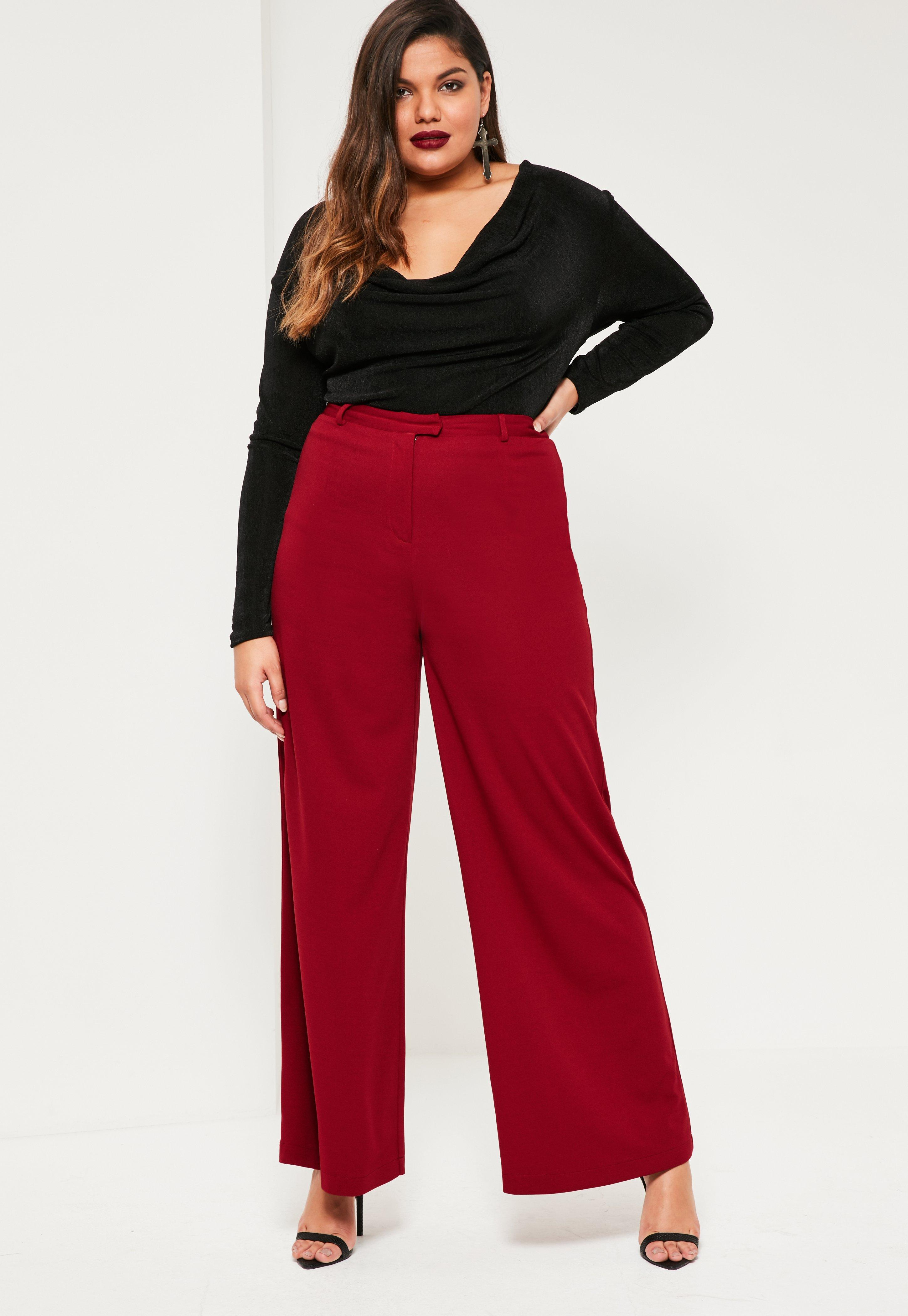Plus Size Red Wide Leg Pants - Missguided
