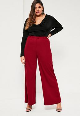 Plus Size Red Wide Leg Trousers