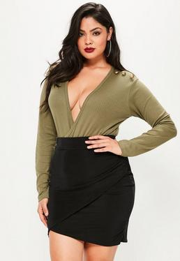 Plus Size Black Slinky Wrap Mini Skirt