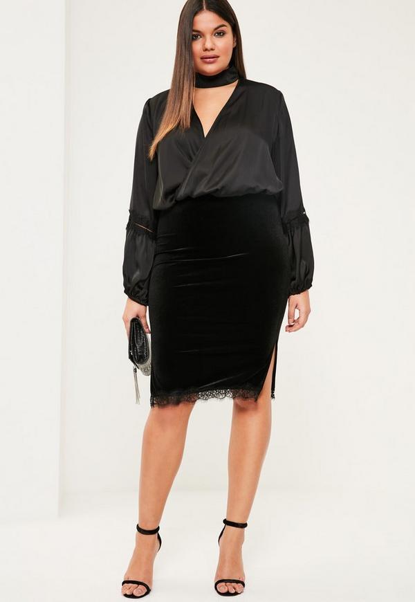 Plus Size Black Velvet Lace Trim Midi Skirt