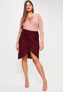 Plus Size Burgundy Slinky Wrap Midi Skirt