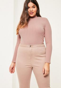 Plus Size Pink Ribbed High Neck Top