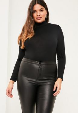 Plus Size Black High Neck Jersey Top