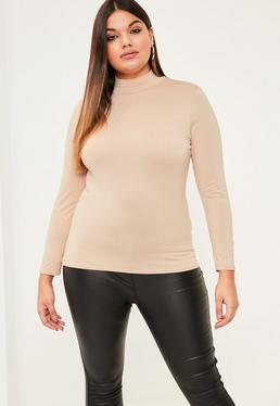 Plus Size Nude High Neck Jersey Top