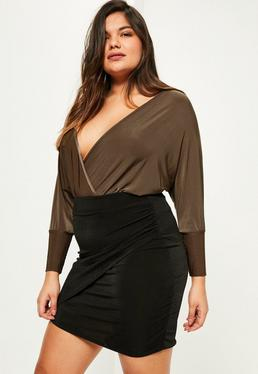 Plus Size Brown Slinky Wrap Bodysuit