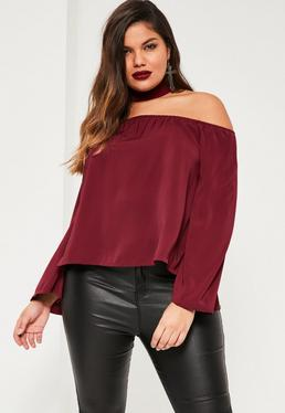 Plus Size Burgundy Choker Neck Bardot Blouse