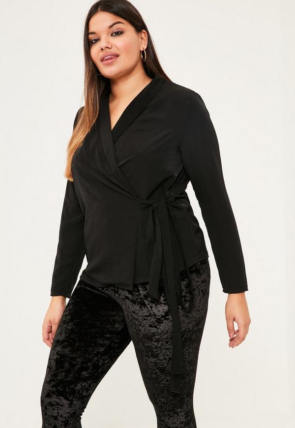 Plus Size Black Long Sleeve Wrap Blouse