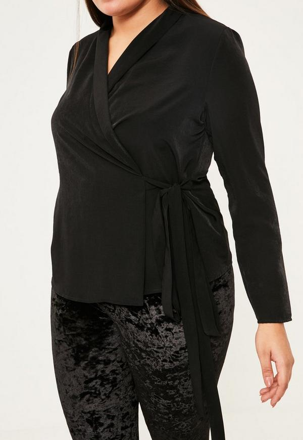 Plus Size Black Long Sleeve Wrap Blouse - Missguided